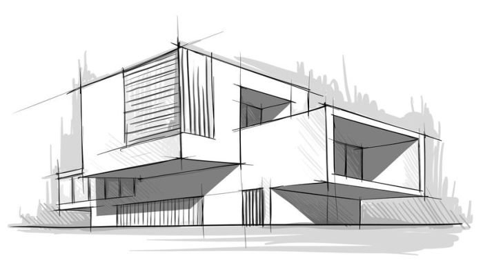 Mimarl kta eskiz izimleri nas l yap l r yed g n for Architecture modern house design 2 point perspective view